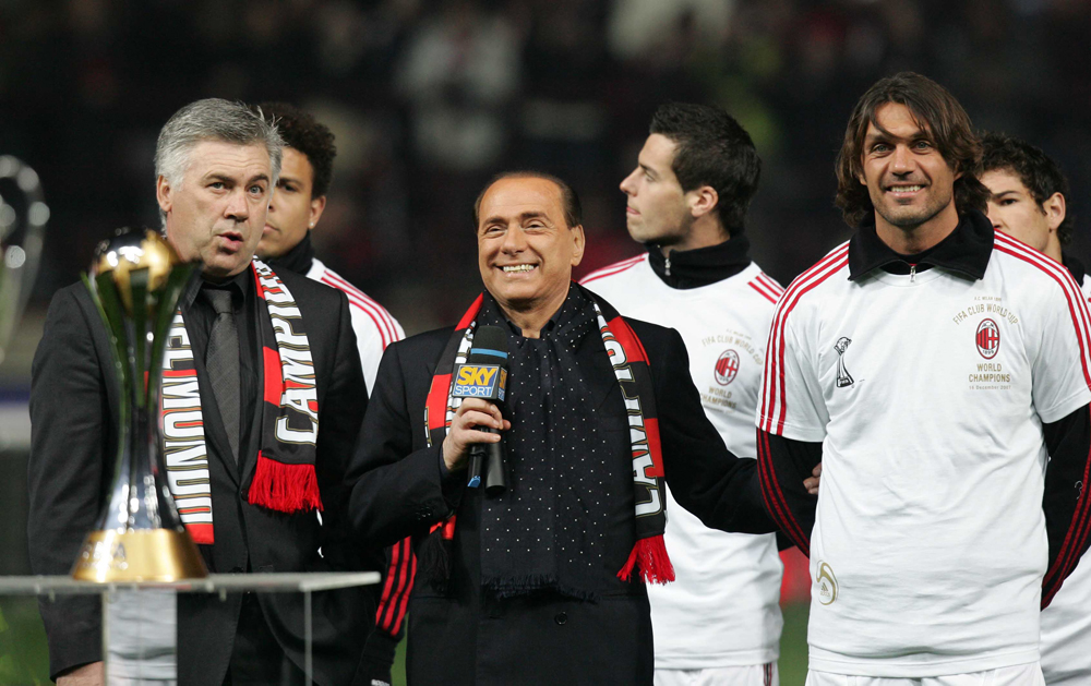 MILAN, ITALY - JANUARY 13: AC Milan coach Carlo Ancelotti, President of AC Milan Silvio Berlusconi and Paolo Maldini during a ceremony prior to the Serie A match between AC Milan and Napoli at the San Siro on January 13, 2008 in Milan Italy. (Photo by Newpress/Getty Images) *** Local Caption *** Paolo Maldini;Carlo Ancelotti;Silvio Berlusconi