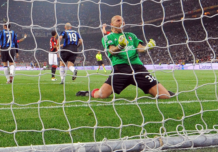 Abbiati celebrates after the Serie A match between Milan and Inter at Stadio San Siro on April 2, 2011. Milan won the match 3-0. (Photo by Dino Panato/Getty Images)