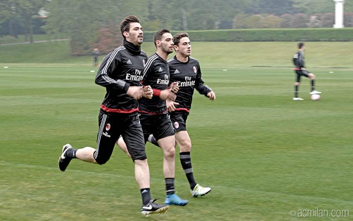 Alessio Romagnoli, Mattia De Sciglio and Davide Calabria in training this week (@acmilan.com)