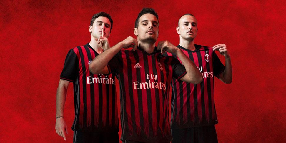 Davide Calabria, Giacomo Bonaventura and Luca Antonelli wearing the new kit (@acmilan.com)