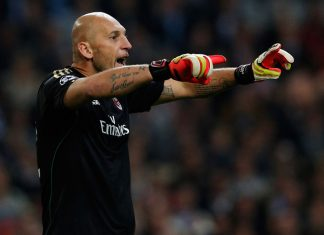 Christian Abbiati of AC Milan screams instructions to his team mates during the UEFA Champions League Group H match between Ajax Amsterdam and AC Milan at Amsterdam Arena on October 1, 2013 in Amsterdam, Netherlands. (Photo by Dean Mouhtaropoulos/Getty Images)