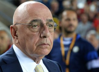UDINE, ITALY - SEPTEMBER 22: Adriano Galliani AD of AC Milan looks on before the Serie A match between Udinese Calcio and AC Milan at Stadio Friuli on September 22, 2015 in Udine, Italy. (Photo by Dino Panato/Getty Images)