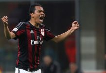 Bacca celebrates his goal Milan-Lazio at Stadio Giuseppe Meazza on March 20, 2016. (Photo by Marco Luzzani/Getty Images)