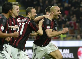 AC Milan's Brazilian defender Alex (R) celebrates with teammates after scoring a goal during the Italian Serie A football match between AC Milan and Juventus on April 9, 2016 at the San Siro Stadium stadium in Milan. / AFP / OLIVIER MORIN (Photo credit should read OLIVIER MORIN/AFP/Getty Images)