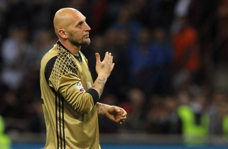 Abbiati salutes the fans for his last game to his career at the end of Milan-Roma at Stadio Giuseppe Meazza on May 14, 2016. (Photo by Marco Luzzani/Getty Images)