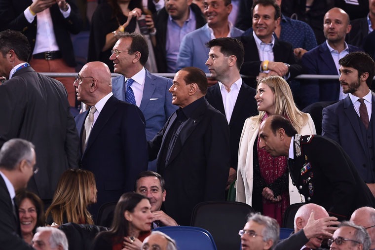 Silvio Berlusconi, Adriano Galliani and Barbara Berlusconi, at the Italian Tim Cup final match Juventus-Milan on May 21, 2016 at the Olympic Stadium in Rome. (FILIPPO MONTEFORTE/AFP/Getty Images)