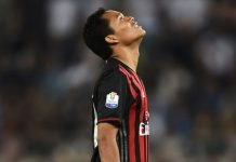 Bacca reacts to Morata's goal during the Italian Tim Cup final match Juventus-Milan on May 21, 2016 at Stadio Olimpico. (FILIPPO MONTEFORTE/AFP/Getty Images)
