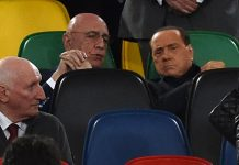 Berlusconi and Galliani after the TIM Cup match between Milan and Juventus at Stadio Olimpico on May 21, 2016. (Photo by Giuseppe Bellini/Getty Images)