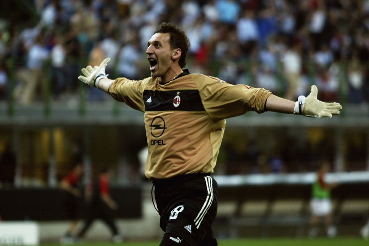 Abbiati celebrates during the UEFA Champions League semi final second leg match between Inter and Milan on May 13, 2003 at San Siro. The match ended in a 1-1 draw, Milan went through on the away goals rule. (Photo by Clive Mason/Getty Images)