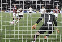 Carlos Bacca scoring the winner for Milan against Bologna at Stadio Renato Dall'Ara on the 7th of May 2016 (@acmilan.com)