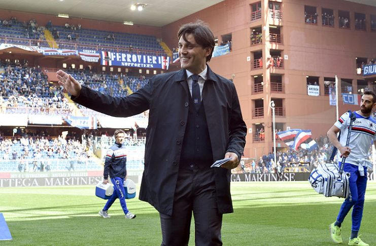 GENOA, GE - APRIL 10: UC Sampdoria head coach Vincenzo Montella gestures before the Serie A match between UC Sampdoria and Udinese Calcio at Stadio Luigi Ferraris on April 10, 2016 in Genoa, Italy. (Photo by Getty Images/Getty Images)