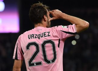 Vazquez celebrates after scoring the during Palermo-Hellas at Stadio Renzo Barbera on May 15, 2016. (Photo by Tullio M. Puglia/Getty Images)