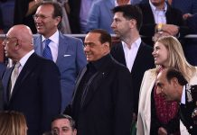 AC Milan president Silvio Berlusconi (C), vice-president Adriano Galliani (L) and Barbara Berlusconi (R), member of the board of AC Milan arrive for the Italian Tim Cup final football match AC Milan vs Juventus on May 21, 2016 at the Olympic Stadium in Rome. AFP PHOTO / FILIPPO MONTEFORTE / AFP / FILIPPO MONTEFORTE (Photo credit should read FILIPPO MONTEFORTE/AFP/Getty Images)
