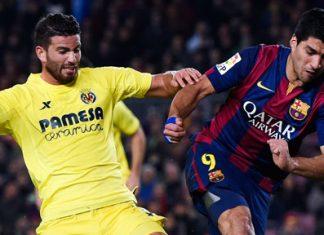 Luis Suarez of FC Barcelona competes for the ball with Mateo Musacchio of Villarreal CF during the Copa del Rey Semi-Final first leg match between FC Barcelona and Villarreal CF at Camp Nou on February 11, 2015 in Barcelona, Spain. (Photo by David Ramos/Getty Images)