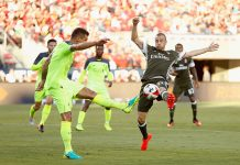Dejan Lovren of Liverpool FC competes for the ball against Luca Antonelli of AC Milan during the International Champions Cup match at Levi's Stadium on July 30, 2016 in Santa Clara, California. (Photo by Lachlan Cunningham/Getty Images)