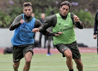 Alessandro Matri and Mattia El Hilali in training (@acmilan.com)
