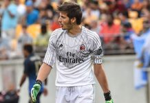 AC Milan goalkeeper Michael Agazzi reacts after conceding a fifth goal against Manchester City during a Champions Cup match at Heinz Field in Pittsburgh on July 27, 2014. Manchester City won 5-1. AFP PHOTO/Nicholas KAMM (Photo credit should read NICHOLAS KAMM/AFP/Getty Images)