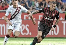 Juraj Kucka in action against Torino on August 21st 2016 at Stadio San Siro (@acmilan.com)