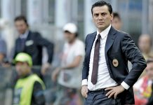 Montella during Milan-Torino on August 21st 2016 at Stadio San Siro (@acmilan.com)
