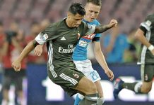 Gianluca Lapadula in action during Napoli-Milan on the 27th of August 2016 at Stadio San Paolo (@acmilan.com)