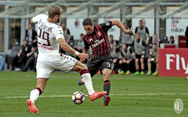 Giacomo Bonaventura during Milan-Torino on August 21st 2016 at Stadio San Siro (@acmilan.com)