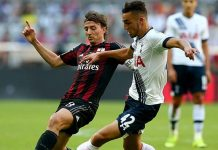 Riccardo Montolivo and Nabil Bentaleb of during the Audi Cup 2015 match between Milan and Tottenham at Allianz Arena on August 5, 2015. (Photo by Martin Rose/Bongarts/Getty Images)