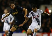 Son Heung-Min of Spurs is challenged by Mario Pasalic of Monaco during the UEFA Europa League Group J match between Tottenham Hotspur and AS Monaco at White Hart Lane on December 10, 2015 in London, United Kingdom. (Photo by Ian Walton/Getty Images)