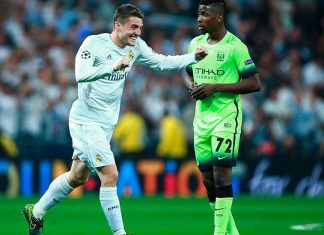 Mateo Kovacic of Real Madrid celebrates during the UEFA Champions League semi final, second leg match between Real Madrid and Manchester City FC at Estadio Santiago Bernabeu on May 4, 2016 in Madrid, Spain. (Photo by Gonzalo Arroyo Moreno/Getty Images)