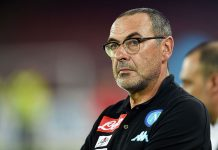 Napoli's coach Maurizio Sarri looks during the pre-season friendly match between SSC Napoli and OGC Nice at Stadio San Paolo on August 1, 2016 in Naples, Italy. (Photo by Francesco Pecoraro/Getty Images)