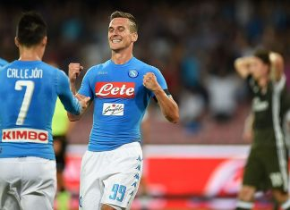 Arkadiusz Milik and Jose Maria Callejon of Napoli celebrate a goal 1-0 scored by Lorenzo Insigne during the Serie A match between SSC Napoli and AC Milan at Stadio San Paolo on August 27, 2016 in Naples, Italy. (Photo by Francesco Pecoraro/Getty Images)