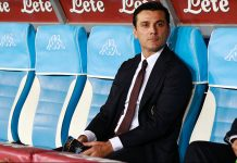Milan's Italian coach Vincenzo Montella looks on during the Italian Serie A football match SSC Napoli versus AC Milan on August 27, 2016 at the San Paolo stadium in Naples. / AFP / CARLO HERMANN (Photo credit should read CARLO HERMANN/AFP/Getty Images)