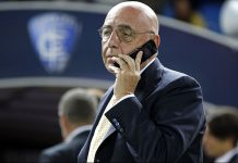 General Magager of AC Milan Adriano Galliani is seen before the Serie A match between Empoli FC and AC Milan at Stadio Carlo Castellani on September 23, 2014 in Empoli, Italy. (Photo by Gabriele Maltinti/Getty Images)