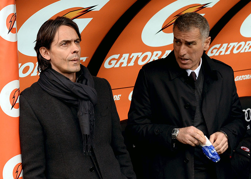 Filippo Inzaghi and Mauro Tassotti look at his players during the the Serie A match between AC Milan and Atalanta BC at Stadio Giuseppe Meazza on January 18, 2015 in Milan, Italy. (Photo by Pier Marco Tacca/Getty Images)