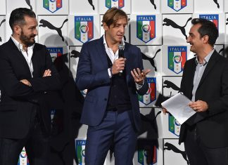 Gianluca Zambrotta, Massimo Ambrosini and Nicola Savino attend the launch of new Puma home kit at Palazzo Vecchio on November 9, 2015 in Florence, Italy. (Photo by Valerio Pennicino/Getty Images)