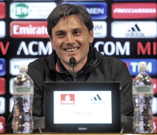 Montella during the press conference at Milanello (@acmilan.com)