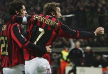 Andriy Shevchenko of Milan celebrates with his team mate Kaka (L) after scoring the second goal during the UEFA Champions League Round of 16 second leg match between AC Milan and Bayern Munich at the Giuseppe Meazza Stadium on March 8, 2006 in Milan, Italy. (Photo by Sandra Behne/Bongarts/Getty Images)