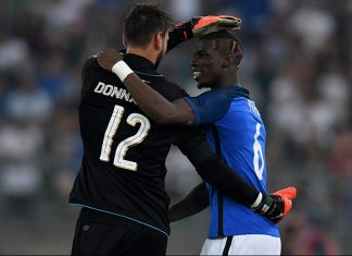 Gianluigi Donnarumma (L) and Paul Pogba of France chat at the end of the international friendly match between Italy and France at Stadio San Nicola on September 1, 2016 in Bari, Italy. (Photo by Claudio Villa/Getty Images)