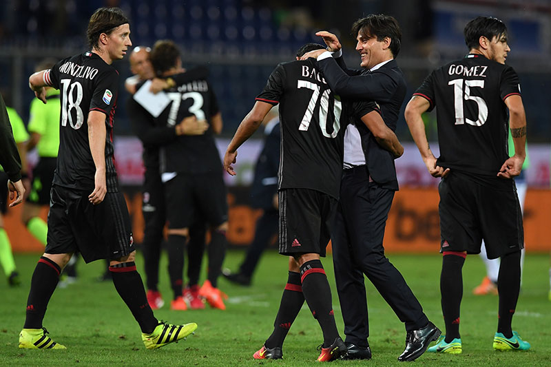 Montella celebrating victory with Bacca at the end of Sampdoria-Milan at Stadio Luigi Ferraris on September 16, 2016. (Photo by Valerio Pennicino/Getty Images)