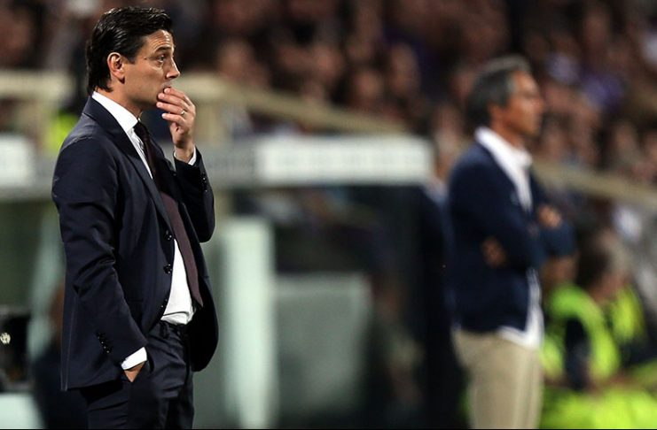 Vincenzo Montella manager of AC Milan looks on during the Serie A match between ACF Fiorentina and AC Milan at Stadio Artemio Franchi on September 25, 2016 in Florence, Italy. (Photo by Gabriele Maltinti/Getty Images)