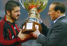 AC Milan's president Silvio Berlusconi gives the Cup to AC Milan midfielder Gennaro Gattuso after Berlusconi trophy between Juventus and AC Milan at San Siro Stadium in Milan, 06 January 2006. AC Milan beat Juventus 3-2. AFP PHOTO / GIUSEPPE CACACE (Photo credit should read GIUSEPPE CACACE/AFP/Getty Images)