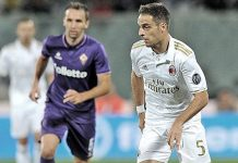 Giacomo Bonaventura during Fiorentina-Milan on the 25th of September at Stadio Artemio Franchi (@acmilan.com)