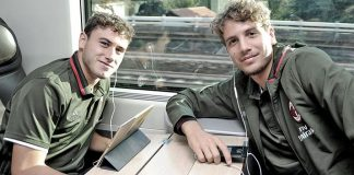 Manuel Locatelli anad Davide Calabria on the train to Florence on the 24th of September 2016 (@acmilan.com)