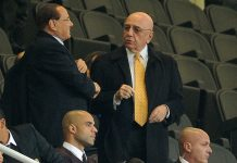 Silvio Berlusconi and Adriano Galliani atend the Berlusconi Trophy match between AC Milan and FC Internazionale at Stadio Giuseppe Meazza on October 21, 2015 in Milan, Italy. (Photo by Pier Marco Tacca/Getty Images)