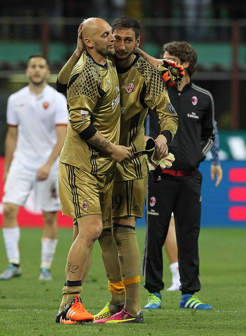 Abbiati and Donnarumma at the end of Milan-Roma at Stadio San Siro on the 14th of May 2016. (Photo by Marco Luzzani/Getty Images)