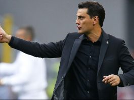 AC Milan's coach Vincenzo Montella gestures during the Italian Serie A football match AC Milan vs Sassuolo on October 2, 2016 at the San Siro stadium in Milan. / AFP / MARCO BERTORELLO (Photo credit should read MARCO BERTORELLO/AFP/Getty Images)