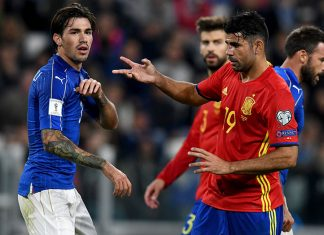 Romagnoli and Diego Costa during the FIFA 2018 World Cup Qualifier Italy-Spain at Juventus Stadium on October 6, 2016. (Photo by Claudio Villa/Getty Images)