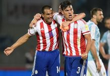 Gustavo Gomez and Paulo Da Silva after the Argentina-Paraguay 2018 World Cup qualifier in Cordoba, Argentina, on October 11, 2016. (JUAN MABROMATA/AFP/Getty Images)
