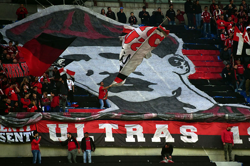 Herbert Kilpin's image shown in the stands before Inter-Milan at Stadio San Siro on the 19th of April 2015 (GIUSEPPE CACACE/AFP/Getty Images)