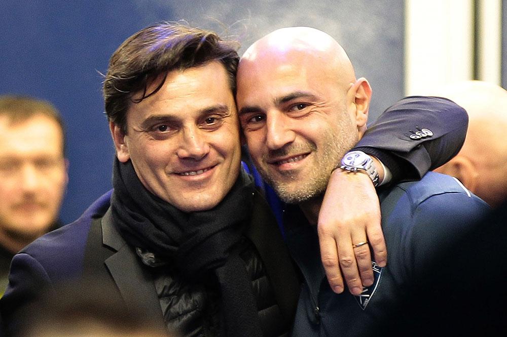 Montella and Massimo Maccarone before Empoli-Milan at Stadio Carlo Castellani on the 26th of November 2016.  (Photo by Gabriele Maltinti/Getty Images)