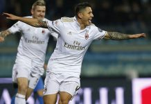 Lapadula celebrates after scoring during Empoli-Milan at Stadio Carlo Castellani on the 26th of November 2016. (MARCO BERTORELLO/AFP/Getty Images)